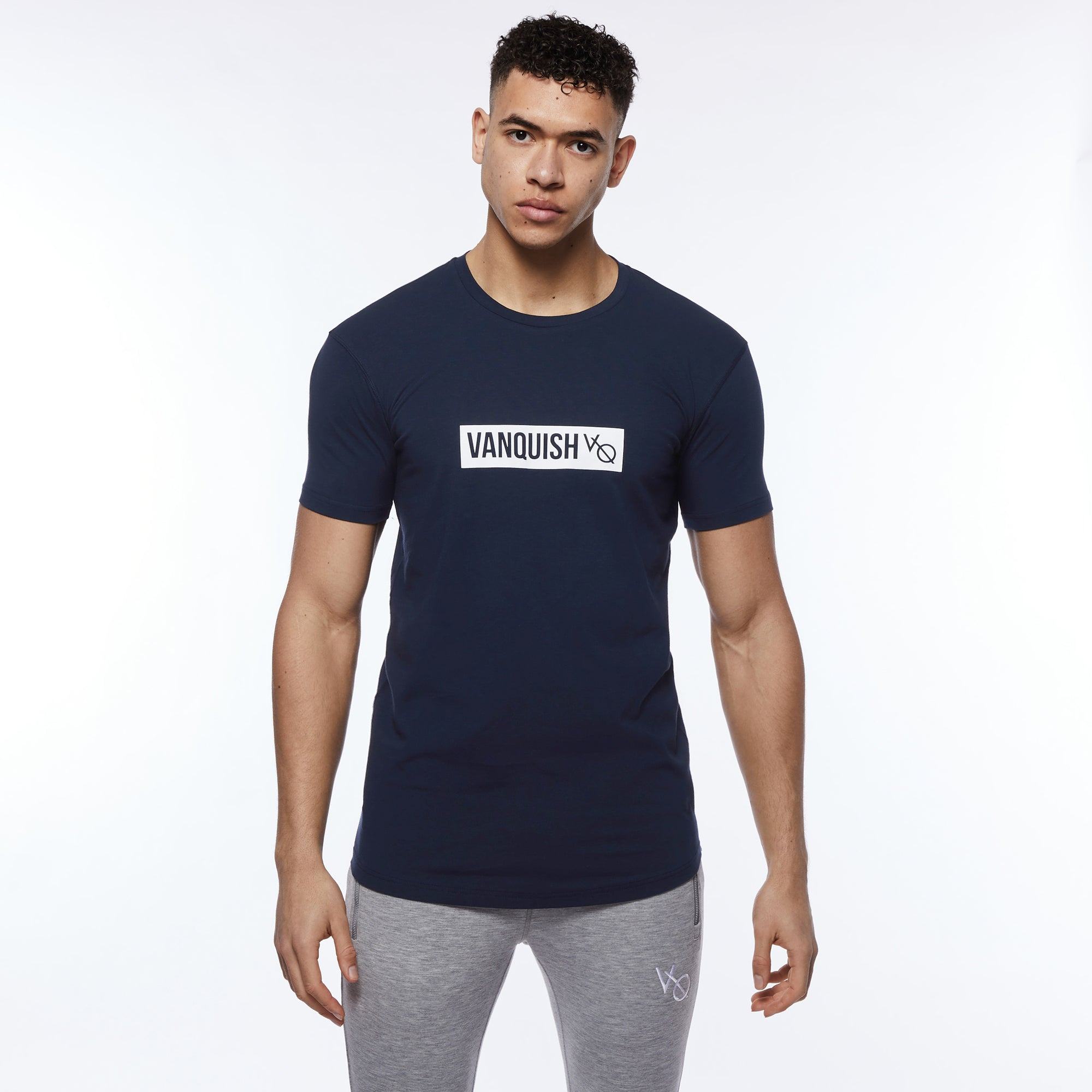Vanquish Box Logo Navy Short Sleeve T Shirt