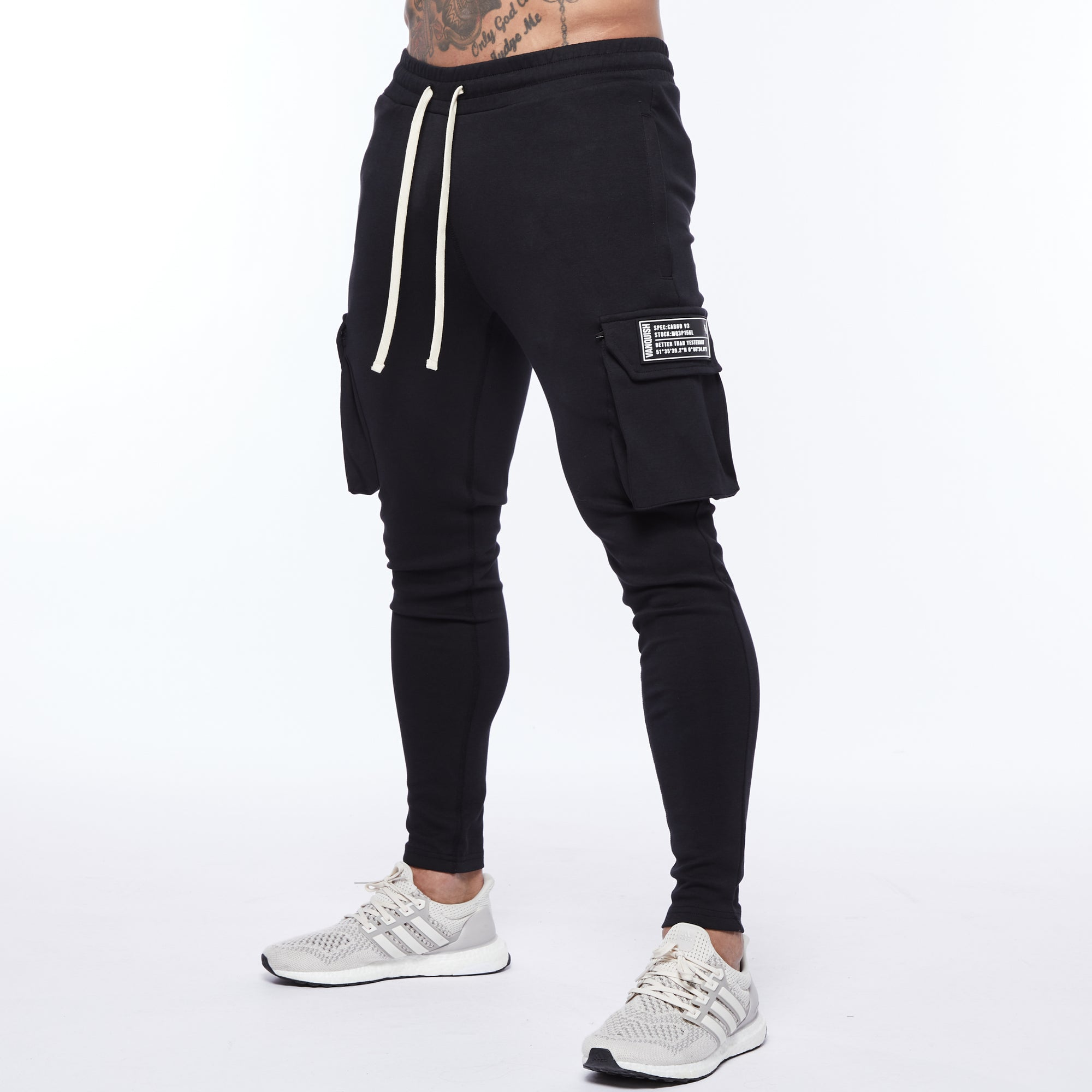 Vanquish Essential Black Tapered Cargo Sweatpants
