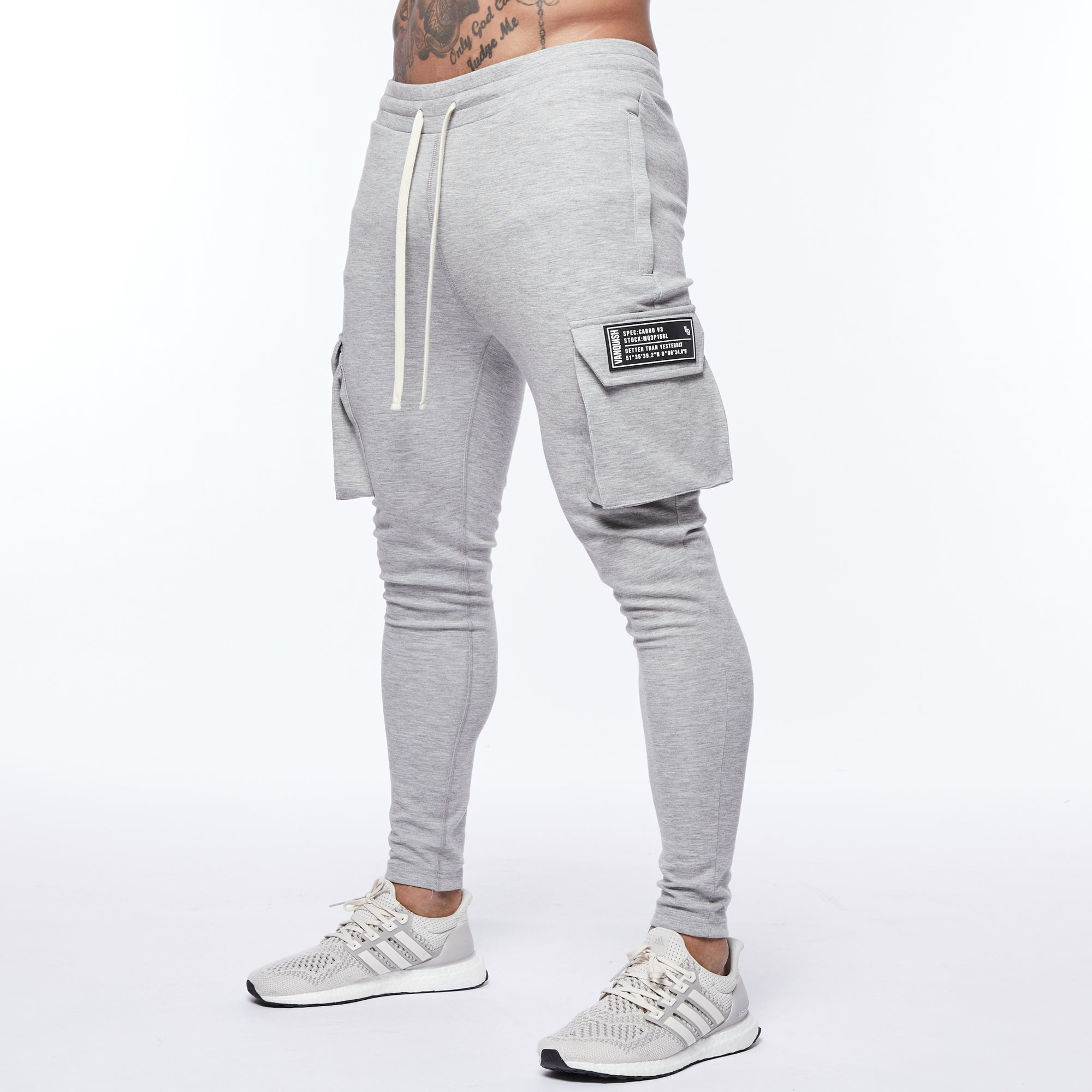 Vanquish Essential Ash Grey Tapered Cargo Sweatpants
