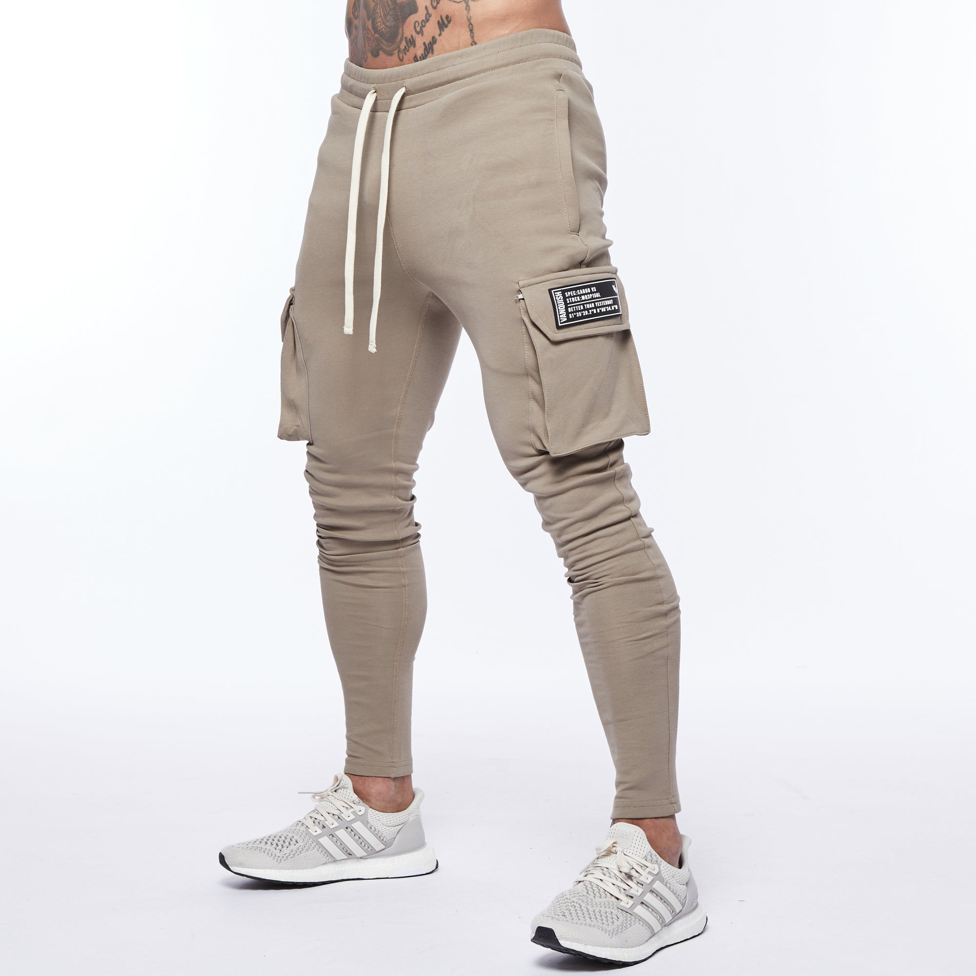 Vanquish Essential Khaki Tapered Cargo Sweatpants