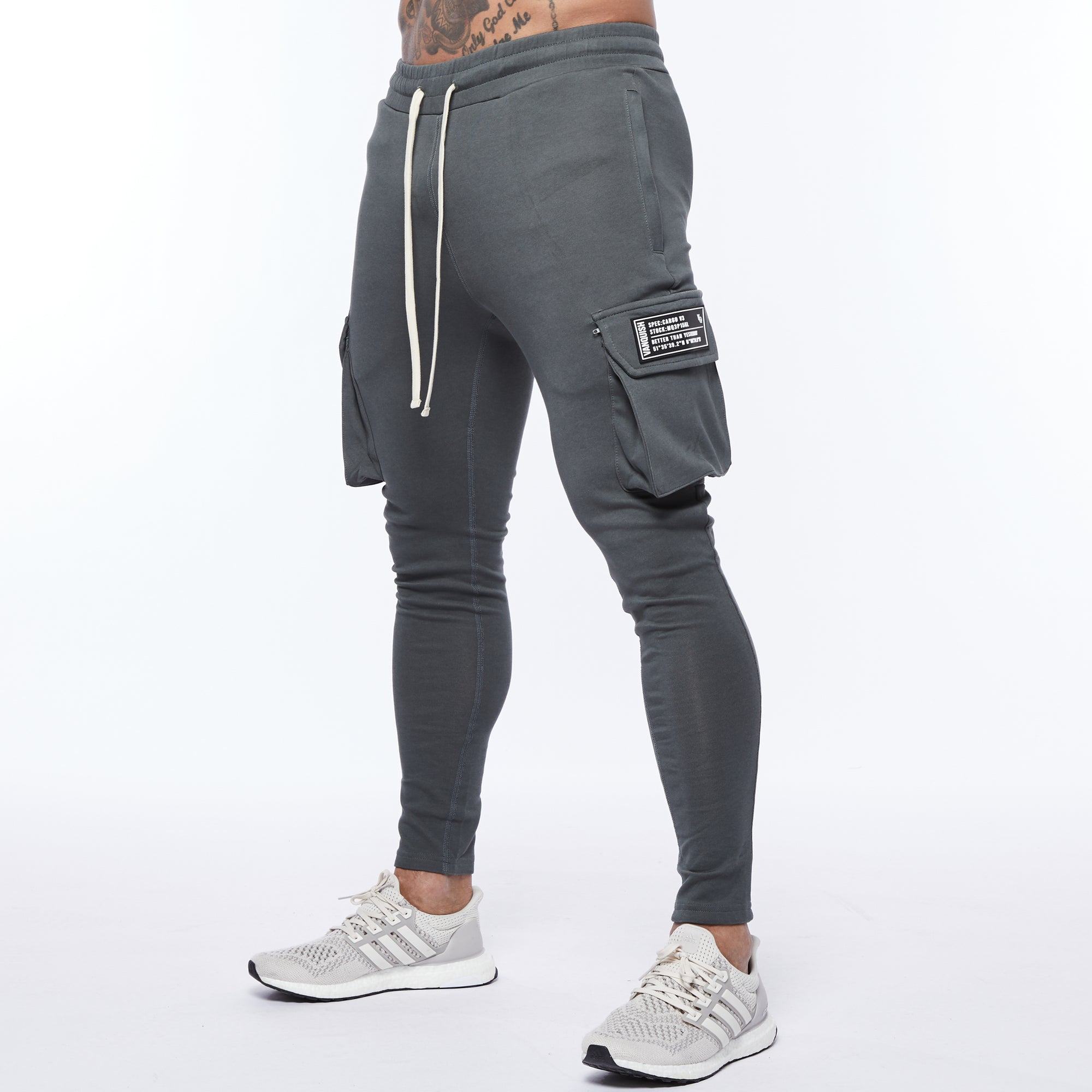 Vanquish Essential Slate Grey Tapered Cargo Sweatpants