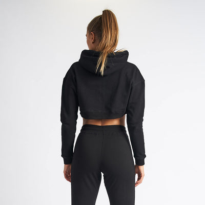 Vanquish Women's Black Essential Cropped Hoodie