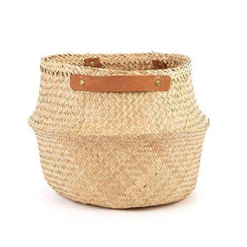 Belly Basket With Leather Handles Natural Large - My House Needs