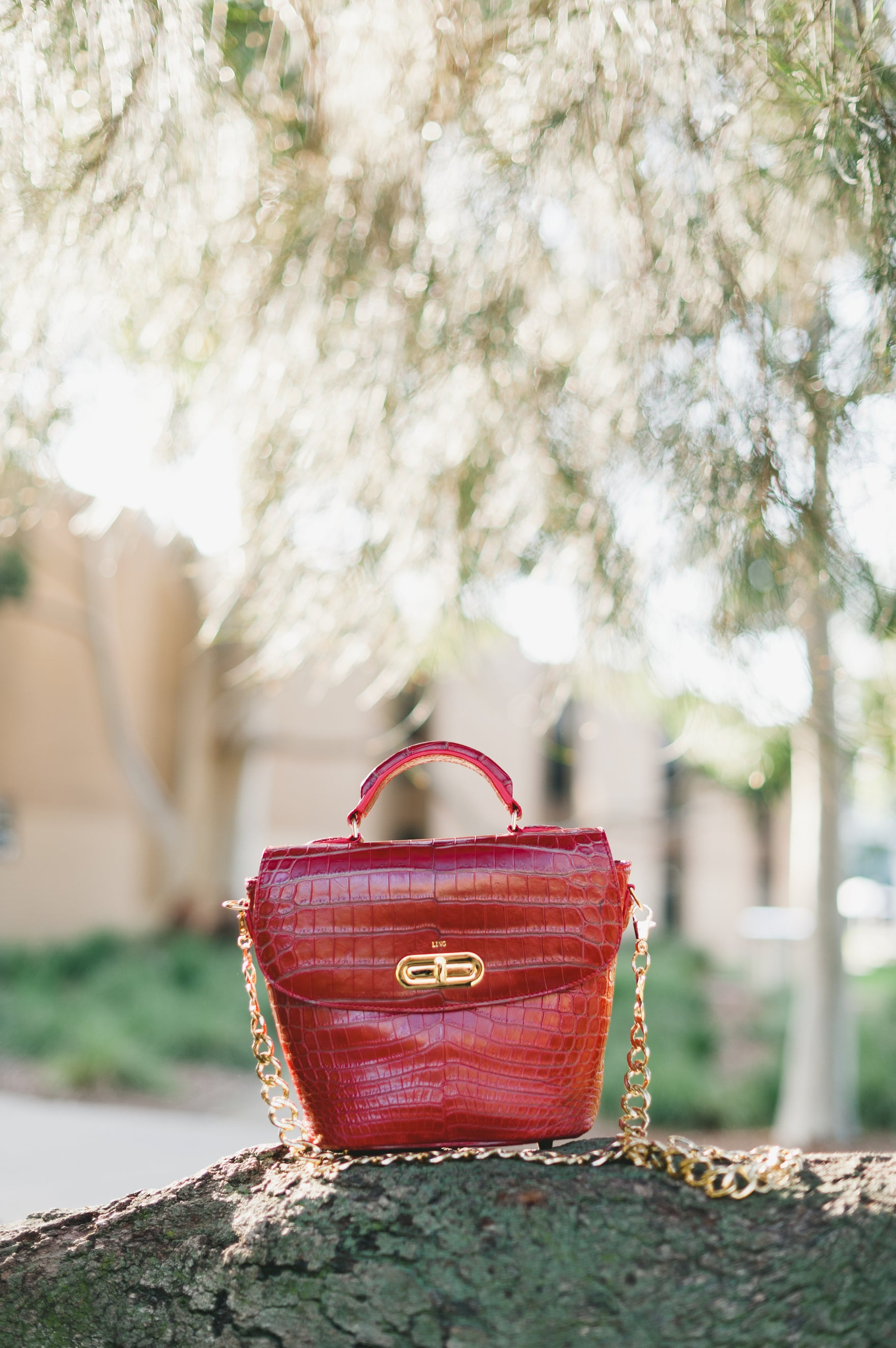 LIN8 luxury leather goods made with genuine crocodile leather. Buckleberry bag in crocodile leather.