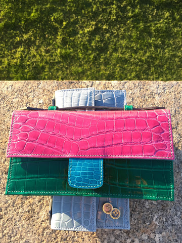 L I N 8 genuine designer exotic crocodile ostrich leather purse handbag clutch wallet hat Melbourne Spring Fashion Week