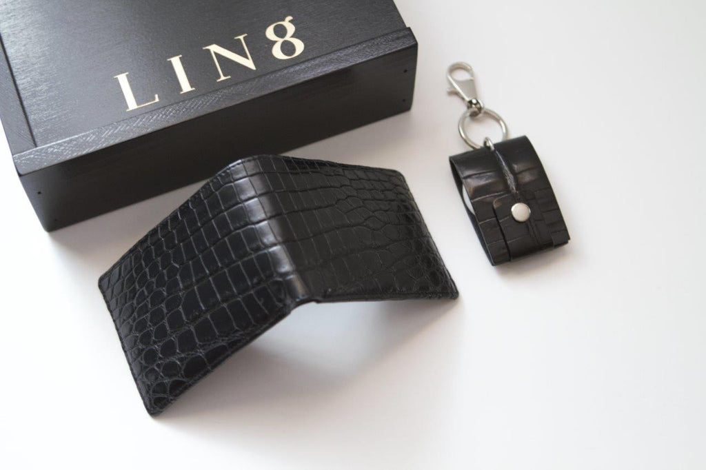 LIN8 Australia's bespoke luxury leather goods. Buy, shop men's compact, sleek, minimal billfold genuine crocodile leather wallet