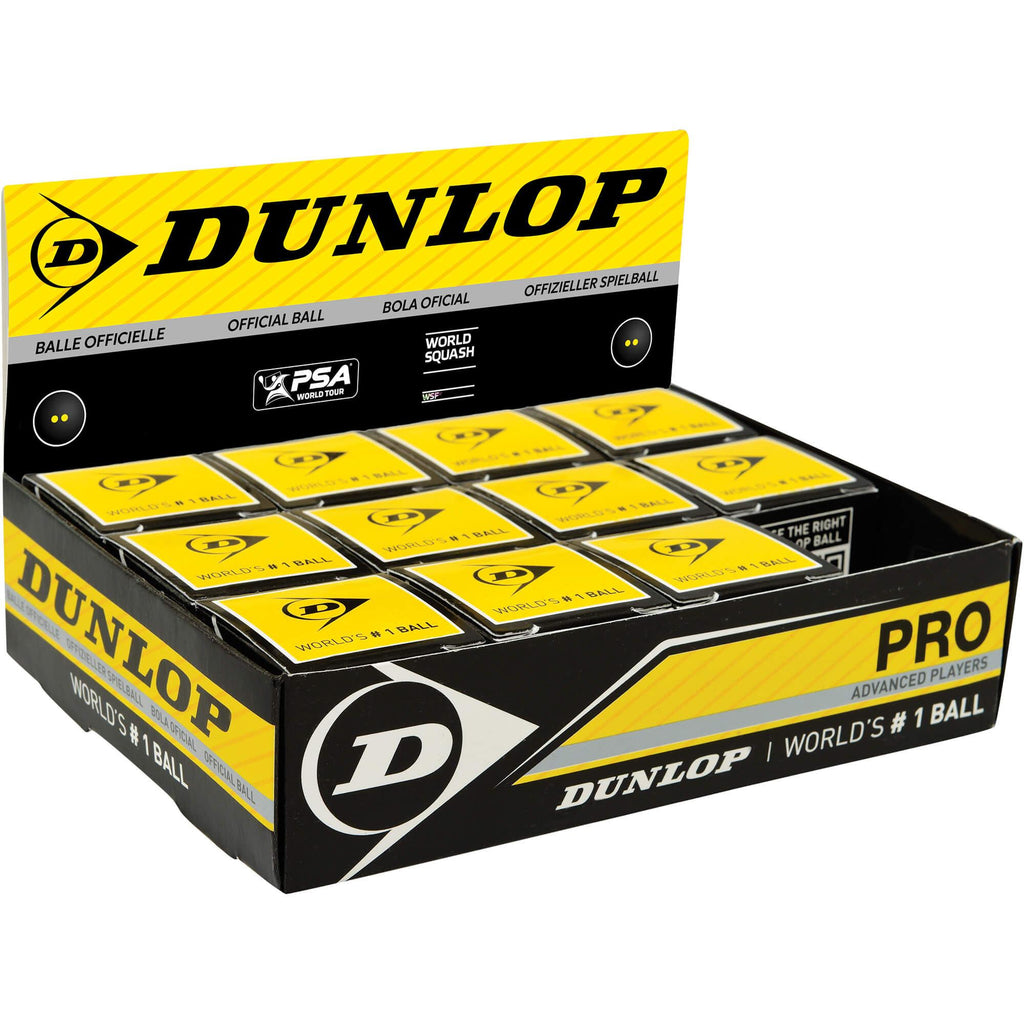 Dunlop Double Yellow Squash Balls (Box of 12)