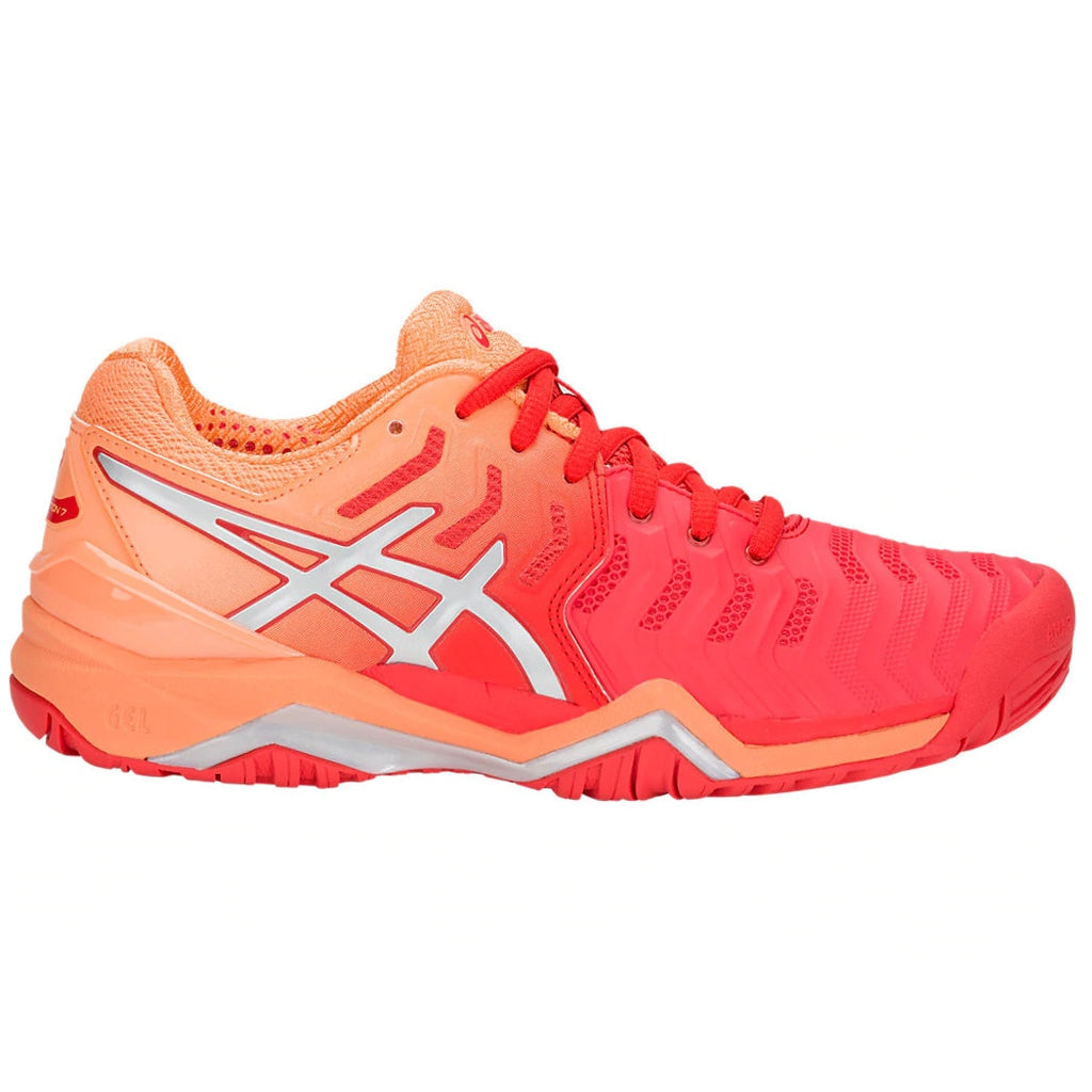 Asics Gel Resolution 7  Red Alert/Silver Women's Tennis Shoes