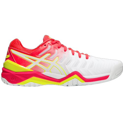 Asics Gel Resolution 7 White/Laser Pink Tennis Shoes
