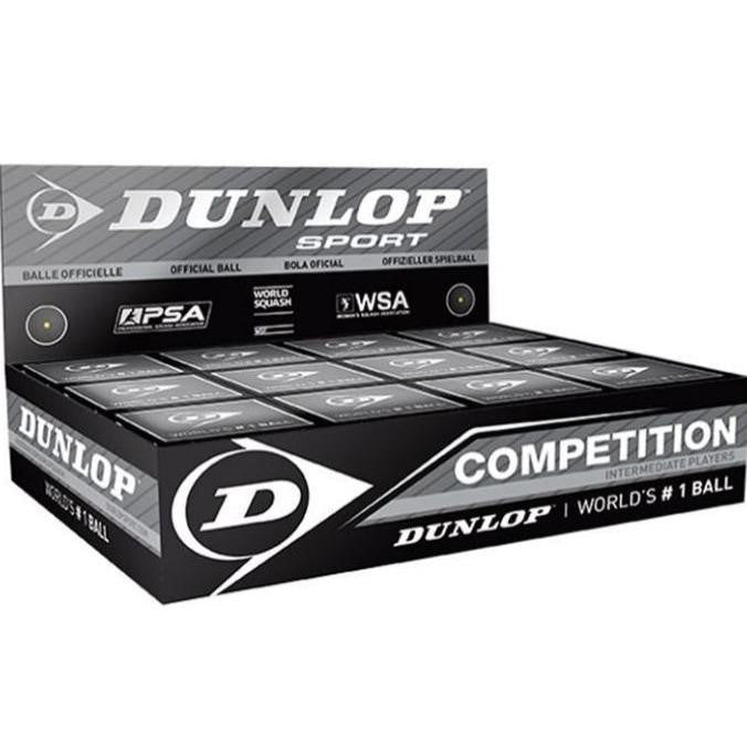 Dunlop Competition Single Yellow Dot Squash Ball (Box of 12)
