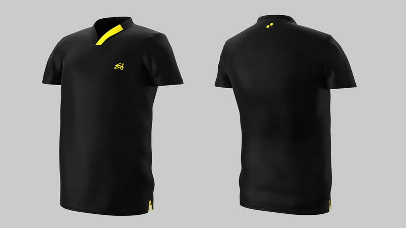 Eye Performance Line V-Neck Mens Shirt Black with Yellow