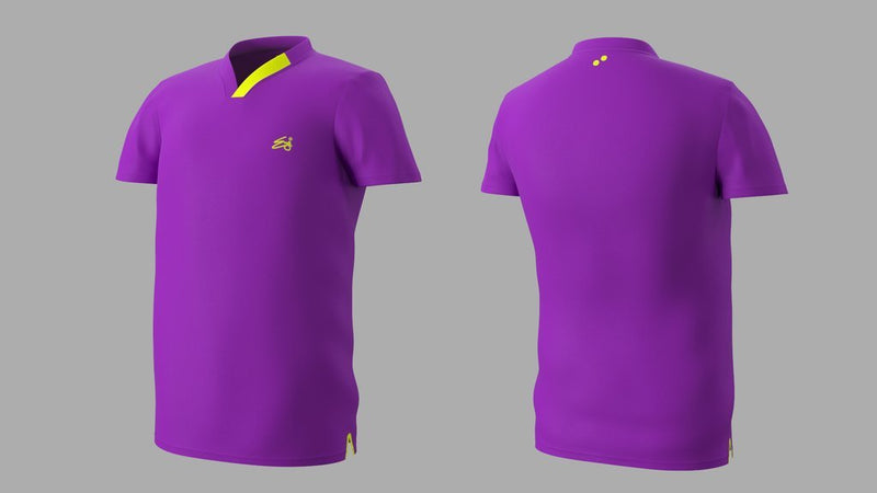 Eye Performance Line V-Neck Mens Shirt Purple with Neon Yellow