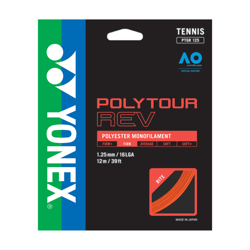 Yonex Polytour Rev 125 Bright Orange Tennis String Set