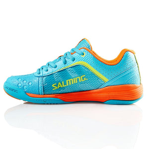 Salming Adder Junior Turquoise/Shock Orange Indoor Squash Shoes