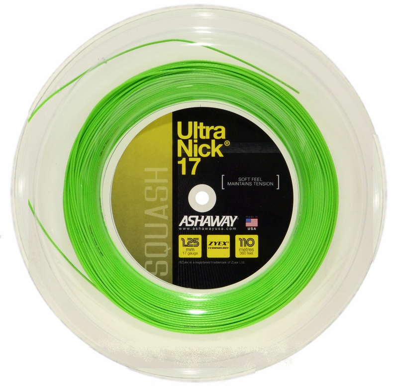 Ashaway UltraNick 17 Squash String Green Reel