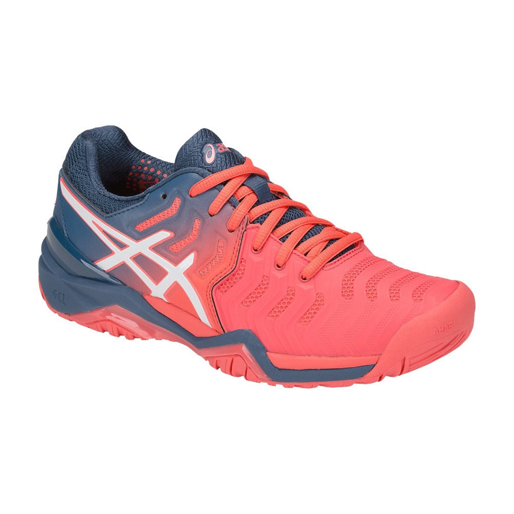 Asics Gel Resolution 7 Papaya/White Women's Tennis Shoes