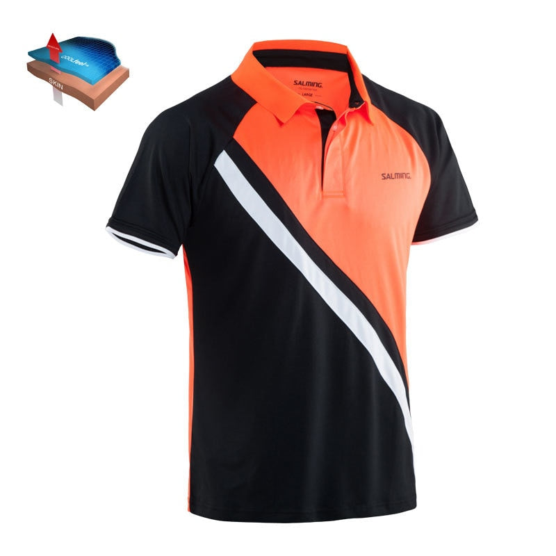 Salming Performance Polo Black/Magma Red