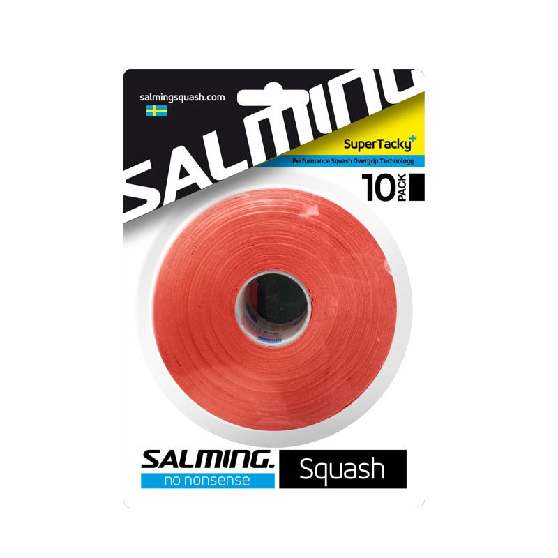 Salming SuperTacky+ Red Overgrips 10-Grip Bulk Pack