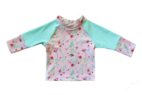 Flower Fields Girls Long Sleeve Rashie