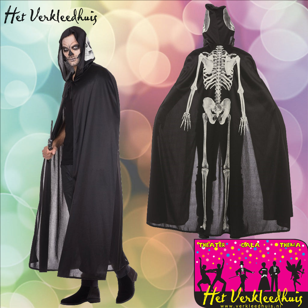 Glowing Skeleton Cape Glow in the Dark - Scattando Verkleedhuis