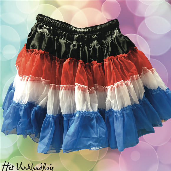 Petticoat multicolor Zwart, Rood, Wit, Blauw 3 laags one-size
