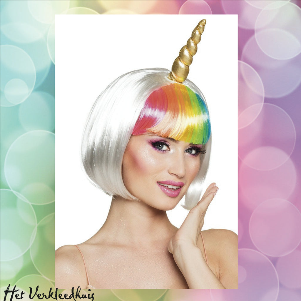 Pruik Unicorn Multi Colour Kort Model - Scattando Verkleedhuis