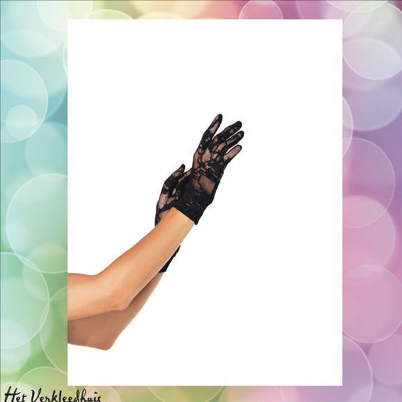 Wrist length stretch gloves Black - Scattando Verkleedhuis
