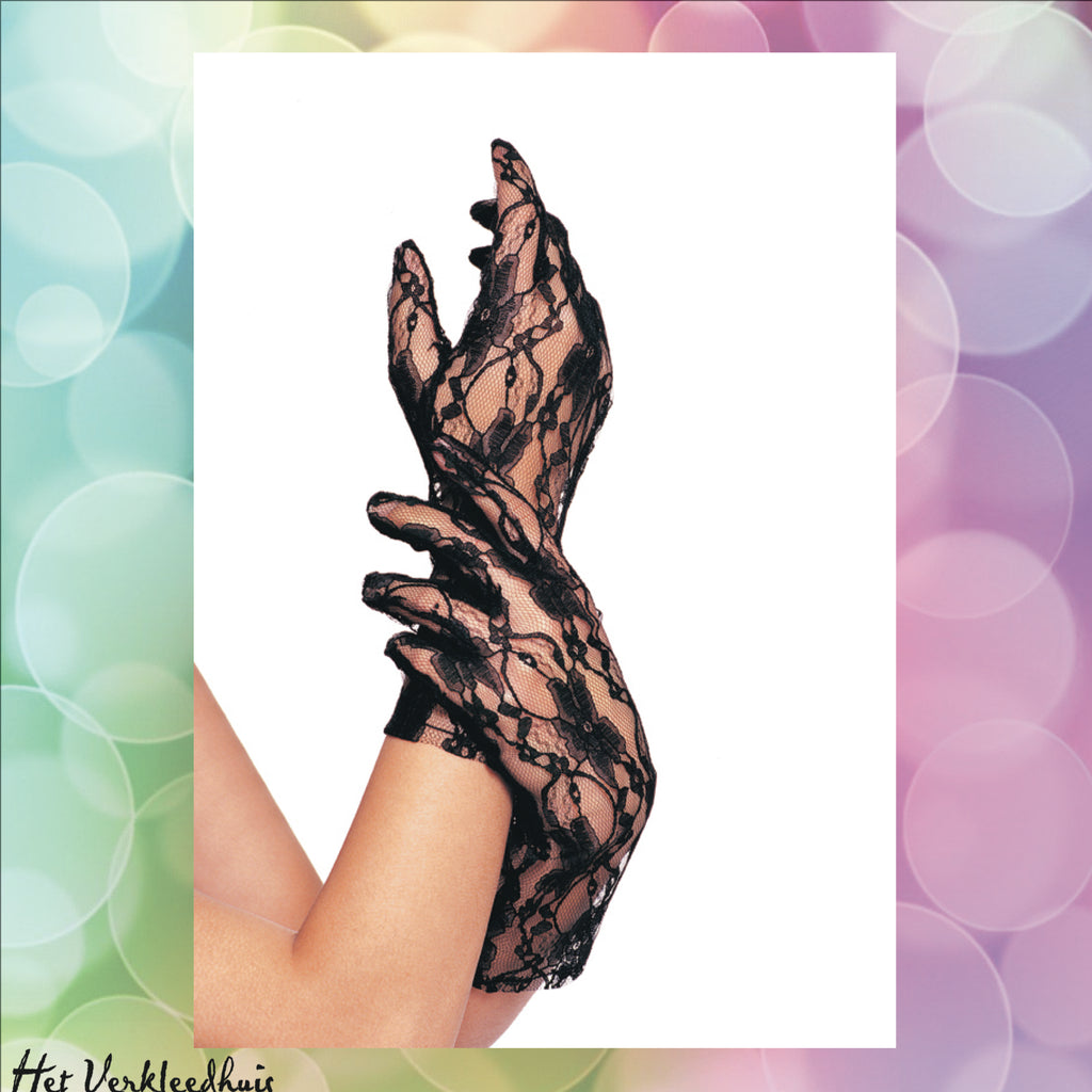 Wrist length lace gloves White - Scattando Verkleedhuis