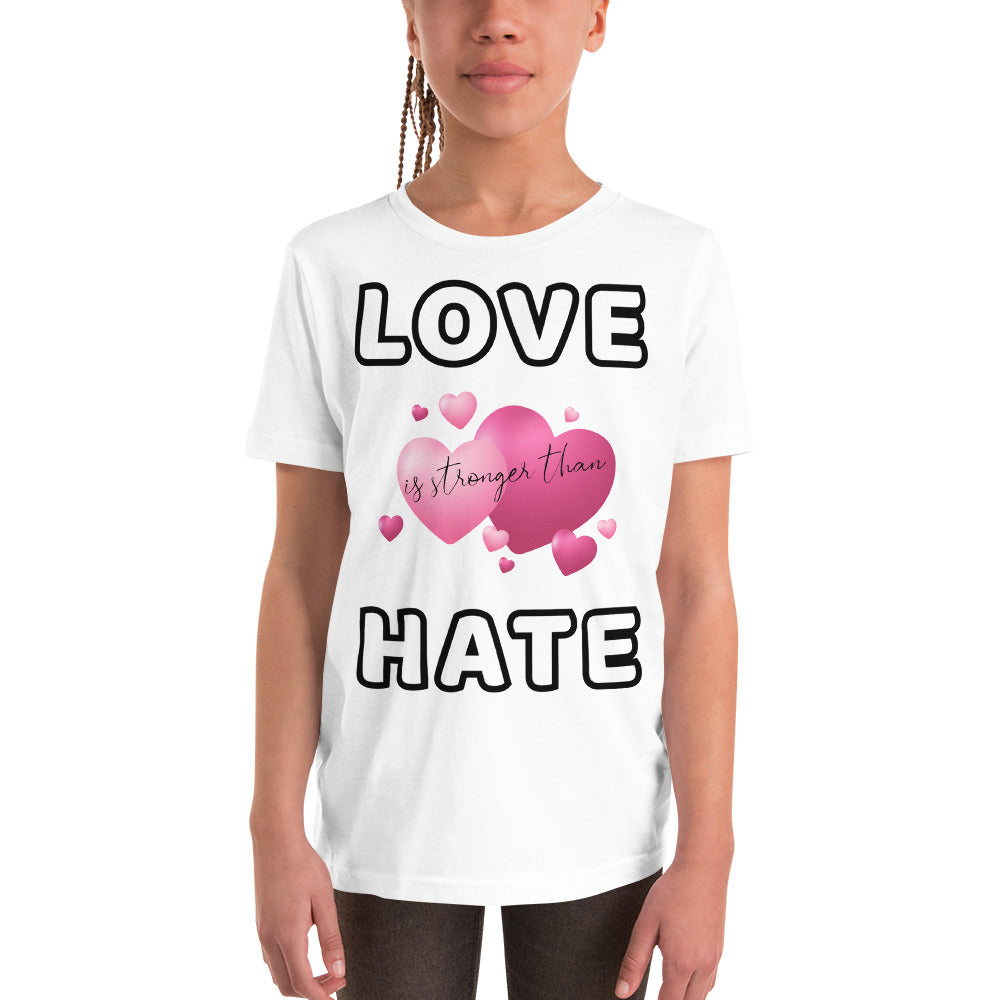 Love is stronger than Hate Youth Short Sleeve T-Shir - Scattando Verkleedhuis