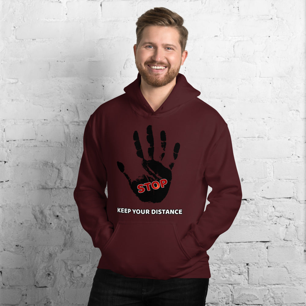 STOP! Keep your distance Unisex Hoodie - Scattando Verkleedhuis