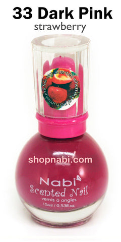 Nabi Scented Nail Polish No.33 Dark Pink (strawberry scent)