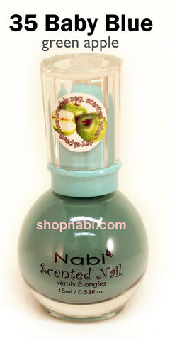 Nabi Scented Nail Polish No.35 Baby Blue (Green apple scent)