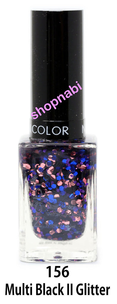 Nabi V Nail Polish no.156 Multi Black II Glitter
