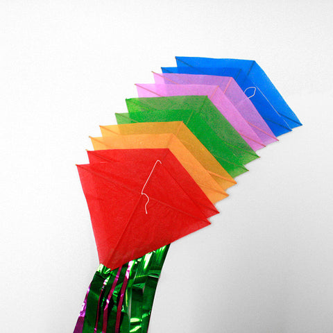 10 rainbow coloured KITES on one string