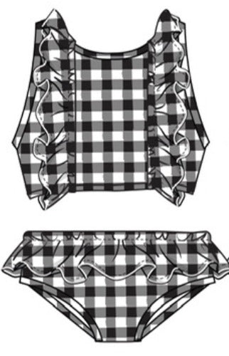Mary Elyse Gingham Tankini Black
