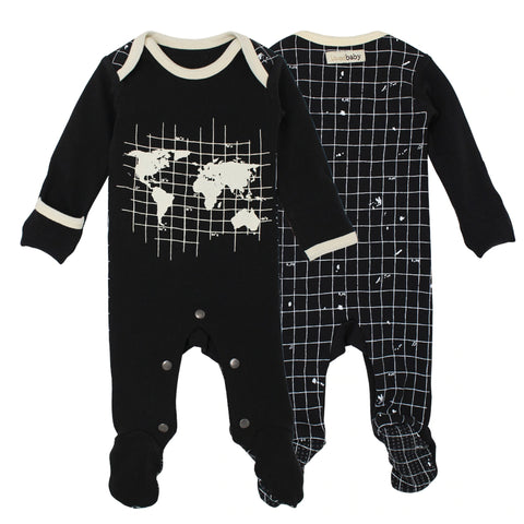 L'ovedbaby Lap Shoulder Footed Overall Black Globe