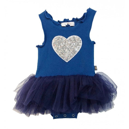 Petite Hailey Heart Tutu Dress Blue