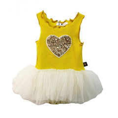 Petite Hailey Heart Tutu Dress yellow