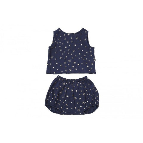 Petite Hailey Tank and Shorts Set Navy Blue