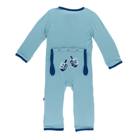 Kickee Pants Holiday Coverall Glacier Dreidel