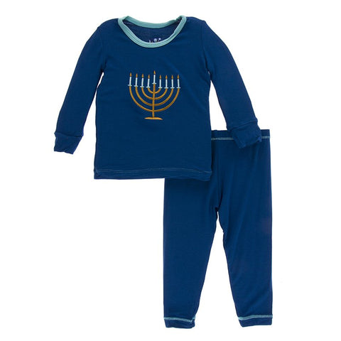 Kickee Pants Holiday Long Sleeve Appliqué Pajama Set in Navy Menorah