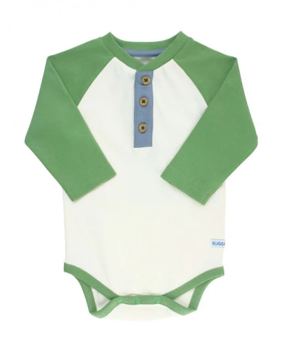 Rugged Ruffle Butts Raglan Henley Ivy and Ivory