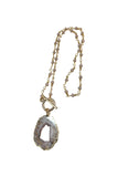 Druzy Andy Rosary Chain Toggle Necklace