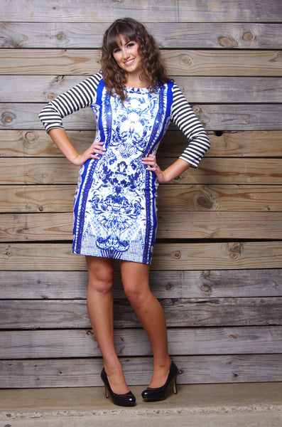 Butterfly Border Print Dress