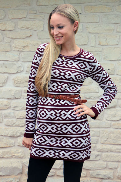 Geometric Tribal Print Sweater Dress (More Colors Available)