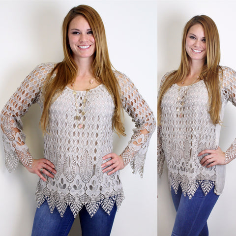 Light Grey Crochet Tunic