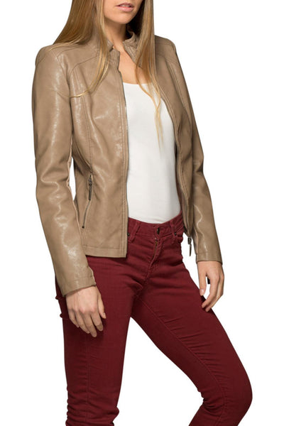 Khaki Vegan Leather Jacket