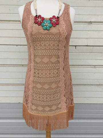 Sleeveless embroidered dress with fringe