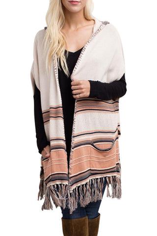 Striped Frayed Trim Poncho