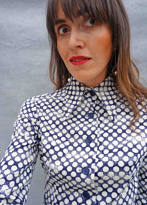 1970's Navy Polka Dagger Collar Shirt Dress - Ada's Attic Vintage -